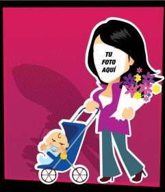 Tarjeta del Día de las Madres con un estilo de caricatura para editar