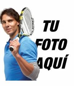 Fotomontaje con Rafa Nadal con su raqueta de tenis