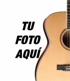Fotomontaje para poner una guitarra española en una foto y añadir texto online