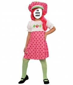 Ahora puedes ser la muñeca *Tarta de fresa* con su vestido y pelo rosa