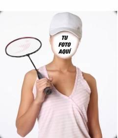 Fotomontaje con una jugadora de badminton para ponerle una cara