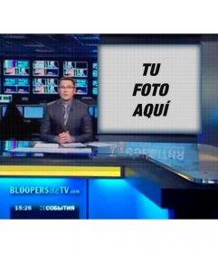 Fotomontaje para que aparezcas en la pantalla de un programa de televisión con un presentador de noticias