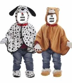Fotomontaje de dos bebés gemelos disfrazados de dálmata y de osito para personalizar con otras caras