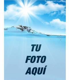 Collage con una imagen de agua y cielo donde poner tu foto y personalizar con tu texto online