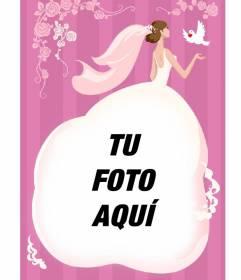 Tarjeta de boda para poner una foto en el vestido de una novia