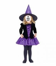 Fotomontaje de niña disfrazada de bruja para poner tu cara