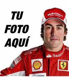 Fotomontaje en el que aparecerás en una foto junto a Fernando Alonso, piloto de Ferrari