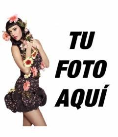 Fotomontaje con la cantante Katy Perry repleta de flores estilo Pin Up con vestido negro y con el pelo negro con flequillo