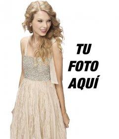 Fotomontaje con Taylor Swift con un vestido brillante para aparecer con ella en una foto y personalizar con un texto