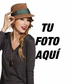 Fotomontaje con Taylor Swift en la que aparecerás con la cantante llevando un sombrero y con los labios rojos