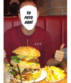 Fotomontaje para agregar tu cara y aparecer comiendo una hamburguesa gigante