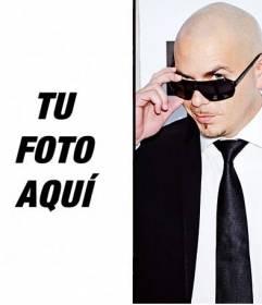 Fotomontaje junto al cantante Pitbull para hacer online