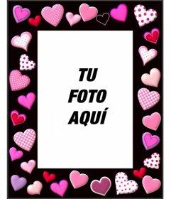 Marco de fotos con corazones rosas y fondo negro