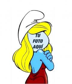 Fotomontaje de La pitufina, de la serie infantil de Los pitufos para editar