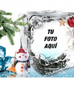 Plantilla de Navidad para poner tu foto en un cubito de hielo