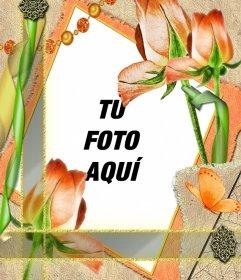 Plantilla de un marco de flores y tu foto