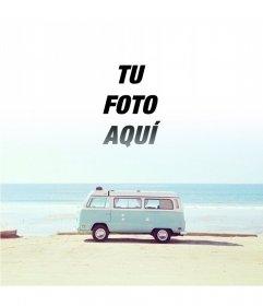 Fotomontaje hipster con una furgoneta