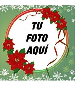 Marco para fotos decorado con flores de Navidad
