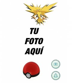 Atrapa al eléctrico pokemon Zapdos con este fotomontaje editable
