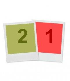 Montaje sencillo y resultón en que aparecen dos polaroid, una de fondo verde y otra de naranja, en las que insertar sendas fotografías. Fondo blanco