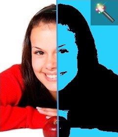 Montaje para fotos estilo Pop Art con fondo azul. Perfecto para tus fotos de perfil