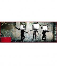 Crea un collage para la portada de Facebook con 3 fotos en un mural de Banksy, conocido artista urbano, y añade tus fotos dentro de las tv
