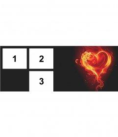 Foto de portada para 3 fotos con un corazón en llamas