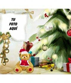 Fotomontaje de Navidad con un árbol y un osito navideño