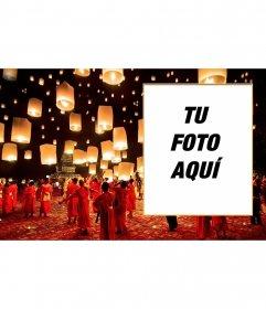 Collage tradicional chino en el festival de las lamparillas de papel