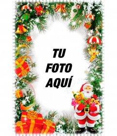 Postal vertical de Navidad con un Papá Noel