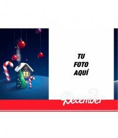 Tarjeta de Diciembre para editar con tu fotografía gratis