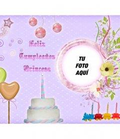 Postal de cumpleaños para niñas para personalizar con una foto