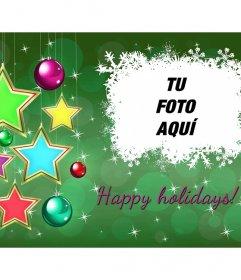 Postal online de Happy Holidays con estrellas para modificar