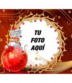Postal infantil para felicitar la Navidad con un ratoncito