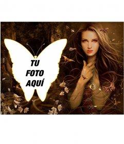 Collage romántico lleno de mariposas y campanillas, con una chica del bosque