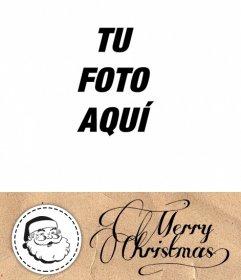 Postal de Navidad para poner una foto con Santa Claus y felicitar la Navidad