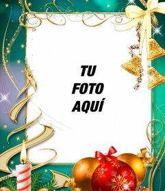 Postal con decoración navideña para poner tu foto