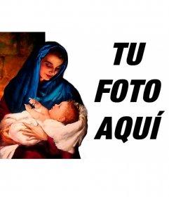 Marco de fotos con la Virgen y el niño Jesús mirandose con ternura