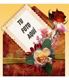 Marco para fotos con fondo naranja y decorado con rosas