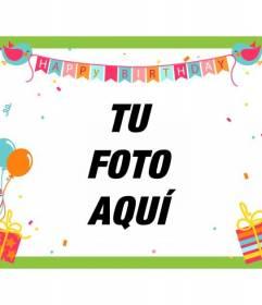 Tarjeta de cumpleaños con globos, banderitas con pájaros, regalos, confetti y marco verde