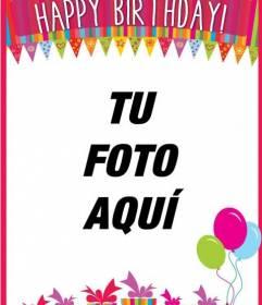 Felicitación de cumpleaños de colores con una foto