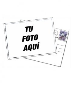 Tarjeta editable con tu foto. Marco simple en la que la imagen de tu elección aparece en el marco de una postal, con el sobre, que tiene sello y matasello sobre un blanco fondo