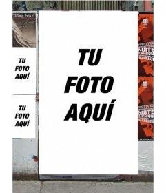 Fotomontaje para hacer con tu foto de carteles en una pared de una calle