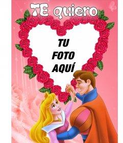 Marco para poner tu foto, de corazón formado por rosas y un príncipe y una princesa