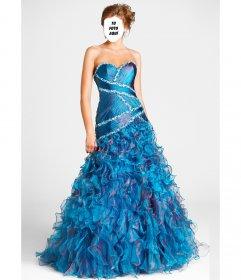 Fotomontaje con un vestido de fiesta para una quinceañera