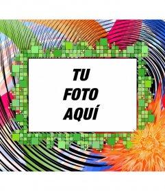 Montaje fotográfico para encuadrar una fotografía. Marco para fotos con colores psicodélicos, ondas y cuadrados. formato horizontal