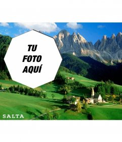Postal de un paisaje bonito de Argentina con tu foto