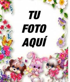 Marco de fotos con flores y cachorritos. Sube tu foto y ponla de fondo