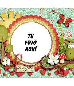 Marco de fotos para decorar tu foto con una rana, vegetación y corazones rojos