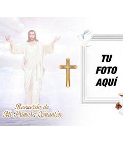 Recuerdo de Primera Comunión con una imagen de Jesucristo en el cielo